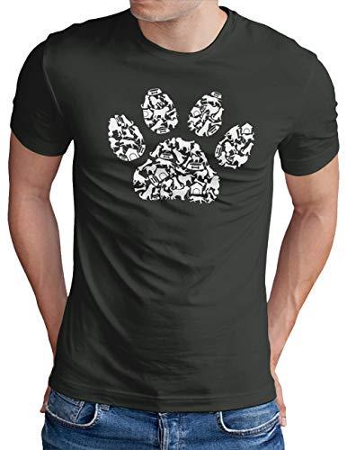 OM3® Dog Paws T-Shirt | Herren | Hundepfote Verschiedene Hunde Rassen | Dark Grey, S