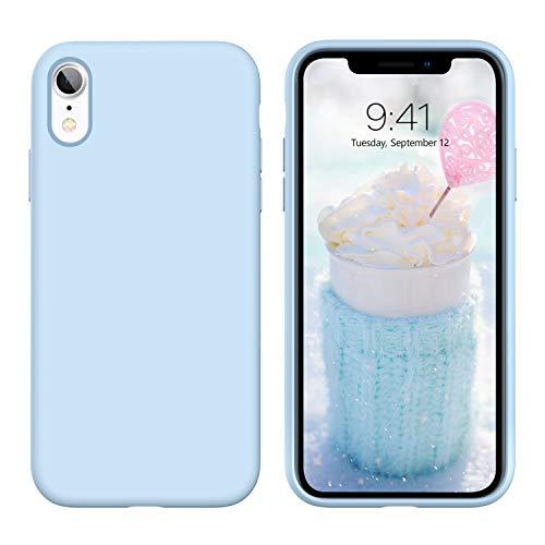 DUEDUE Coque iPhone XR, Silicone Liquide Douce Rigide Antichoc Micrifibre Protection Téléphone iPhone XR Bleu
