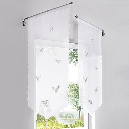 HongYa 1er-Pack Panneaux Kurzstore Transparenter Voile Küche Gardine mit Schmetterlinge Muster Lasercut Tunnelzug H/B 90/40 cm