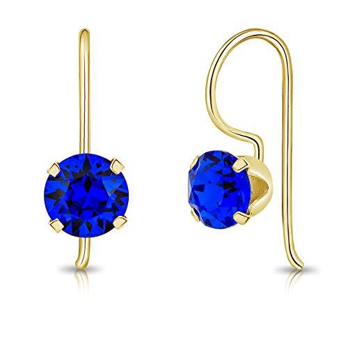 DTPsilver Semental Pendientes/Aretes con Gancho - Plata de Ley 925 Chapado en Oro Amarillo con Cristal Swarovski Elements Redondo - Diámetro: 6 mm - Color: Majestuoso Azul