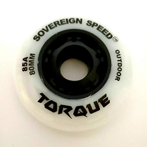 Sovereign Speed Outdoor Inline Skate Wheels, 80mm 85A 8-Pack Fitness Roller Hockey Skating Roller Blades (Torque Wheels) White Color