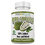 Todorganic - Hojas de Graviola de Guanábana Orgánica 100% Pura, 60 Cápsulas | Piel Sana, Ayuda a Promover el Crecimiento Celular - Suplemento de Guanábana - 800 mg Sin Gluten, Vitamina B17
