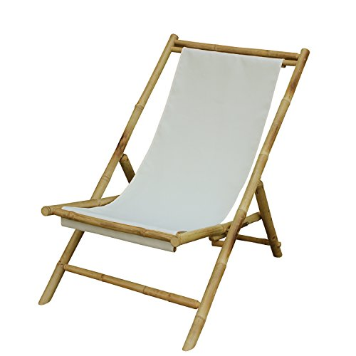 Zew Handmade Foldable Bamboo Lawn Sling Chair with Treated Canvas, 37' L x 24' W x 33' H, White