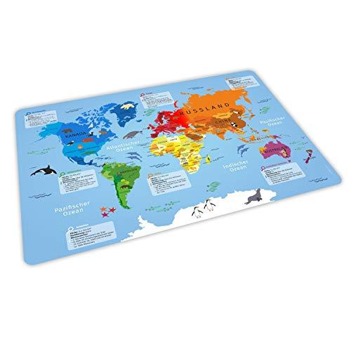 stabiles Vinyl Tischset mit Lerneffekt für Kinder - Weltkarte - Platzdeckchen Platzset - BPA frei - abwaschbar reißfest farbecht - Geschenk Schuleintritt Schulanfang Einschulung