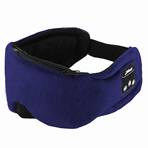 LG&S Multifunktionale Bluetooth Schlaf Augenmaske Kopfhörer Wireless-V5.0 Musik Reise Schlaf Headset Freisprecheinrichtung Eye Shades eingebauten Lautsprecher Mikrofon Waschbar,Blau