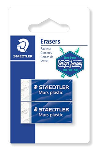 Staedtler 52653BK2-CST - Gomma Mars Plastic Mini, qualità Premium, Made in Germany, Senza ftalati e Lattice, Blister con 2 gomme da Cancellare, 52653BK2-C, Multicolore
