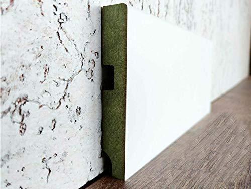Rodapié - Zócalo de DM/MDF lacado blanco puro hidrófugo canto recto - Tiras de 2,44 metros lineales - 16mm de grosor - Diferentes alturas - (1, 10 cm)