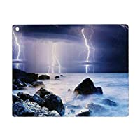 iPad Air 4 ケース 2020 iPad 10.9インチ 湖の家の装飾、夏の嵐が海の岩の上に点滅悪夢のテーマ天気自然画像、紫灰色 Pad 10.9インチ 2020年専用