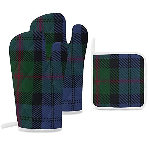 Lot de 3 maniques et maniques de cuisine Clan Baird en tartan antidérapant et réutilisable pour la cuisine, la pâtisserie, le barbecue et...