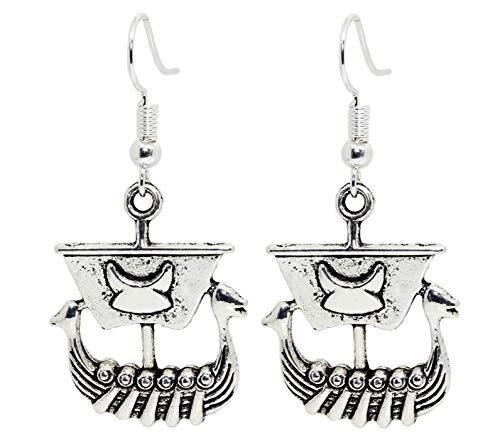 Pendientes de plata de ley con diseño de barco pirata de caballero vikingo, estilo vintage, con diseño de gatito, en bolsa de regalo