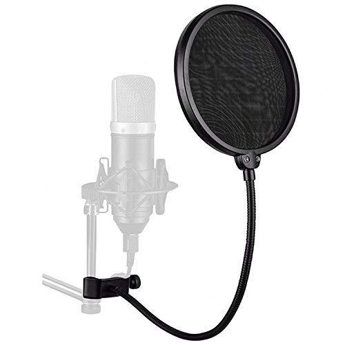 VOARGE Professioneller Mikrofon-Popfilter zum Anklemmen und Aufnehmen von Bilayer-Aufnahmen, Mikrofon Pop Filter Double Nylon Filterschicht mit verstellbarem Schwenkhalter