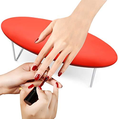 Handkissen Maniküre Kissen, Mikrofaser-Leder Handauflage Kissen, Passen fast alle Marken Nagel Lampe (Rot)
