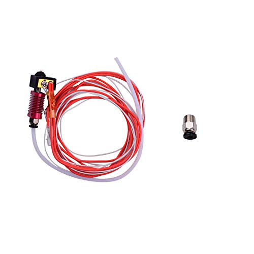 Durable Kit de extrusora Hotend, MK8 Kit de extrusora ensamblado Hotend con bloque calefactor de aluminio, boquilla de 0,4 mm, calentador de alambre, termistor, tubo de PTFE, conector neumático compat