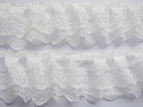 YYCRAFT Pack of 15y 3-Layer Pleated Organza Lace Edge Trim Gathered Mesh Chiffon Ribbon for Cloth Sewing DIY Craft Supply-White