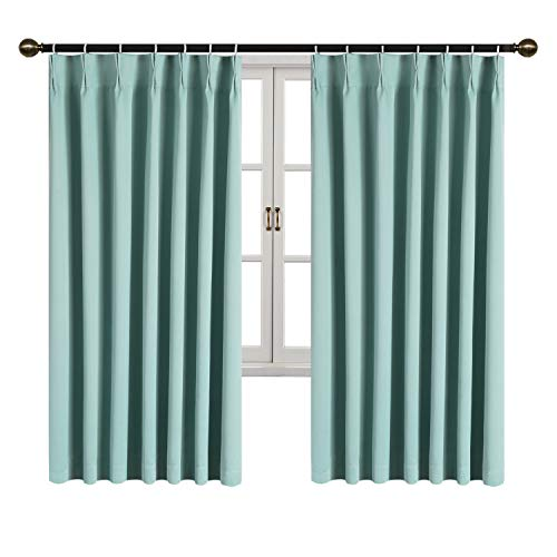 SUO AI TEXTILE カーテン 遮光 ドレープカーテン 洗える 断熱 遮熱 保温 昼夜目隠し ブルー 2枚組 幅100cmx丈178cm