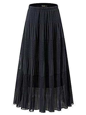 NASHALYLY Women's Chiffon Elastic High Waist Pleated A-Line Flared Maxi Skirts