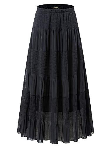 NASHALYLY Women's Chiffon Elastic High Waist Plus Size Pleated A-Line Flared Maxi Skirts(Black, 2XL)