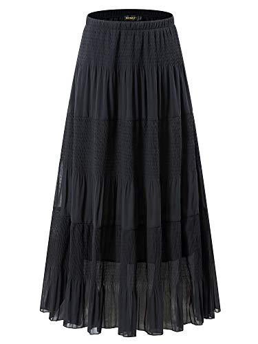 NASHALYLY Women's Chiffon Elastic High Waist Pleated A-Line Flared Maxi Skirts(Black, L)