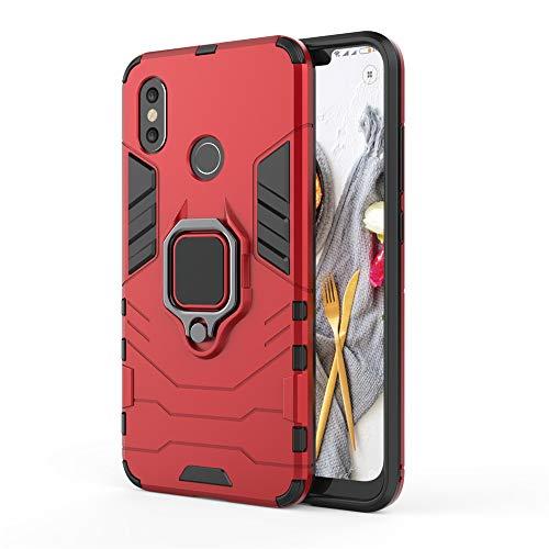Xiaomi Mi 8 Funda, MHHQ 2in1 Armadura Combinación A Prueba de Choques Heavy Duty Escudo Cáscara Dura PC + TPU Silicona con Soporte Magnetic Car Mount Case Cover para Xiaomi Mi 8 -Red