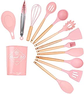 12pcs silicone kitchen cookware set,spatulas for nonstick cookware,Wooden handle insulated cookware set (pink)