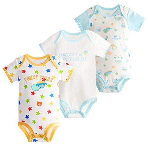 Dooxii Bebé Niños Niñas Manga Corta Bodies Pijama Casual Impreso Monos Regalo Combinación Paquete de 3 Oveja×3 12