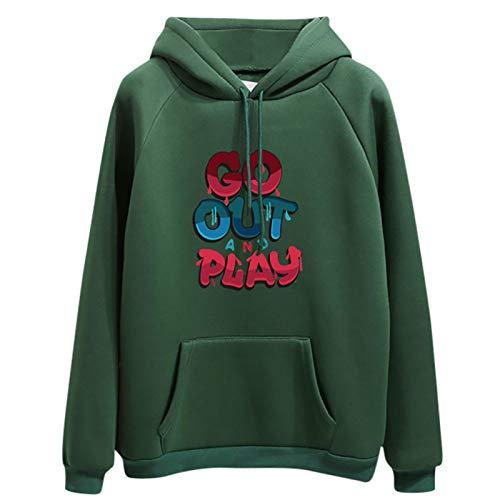 Moda Sudaderas Jersey Sweater Sudadera con Capucha De Manga Larga Informal para Mujer Sudadera con Capucha Pullover Tops Gruesos M Verde