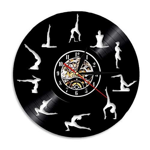 LWXJK Om Yoga Studio Reloj De Pared De Gimnasia Disco De Vinilo De Pared Reloj De La Meditación Zen Moderno Diseño Decorativo Reloj Yogui Regalo para Niña