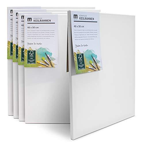 5er-Set 40x50cm Künstler-Leinwand Canvas zum Bemalen. Die Leere, weiße Leinwand aus 100% Baumwolle ist umlaufend aufgespannt auf FSC® Holz-Keilrahmen mit 17mm Stärke, 280g/m², 2-Fach weiß grundiert