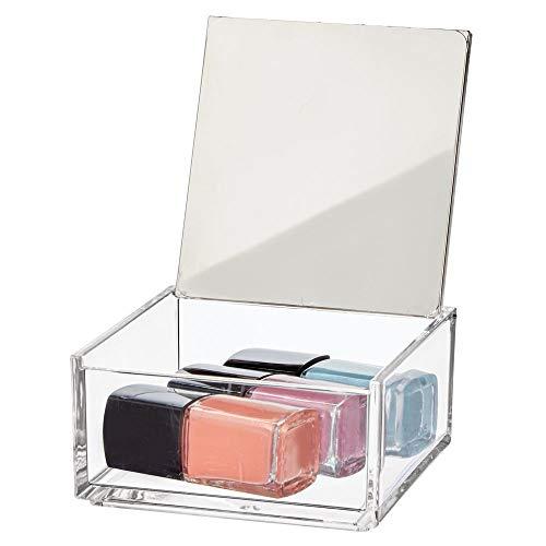 mDesign Caja de maquillaje pequeña con espejo – Organizador de cosméticos para baño y tocador – Cajas de plástico transparente para organizar maquillaje, pintalabios y más – transparente y plateado