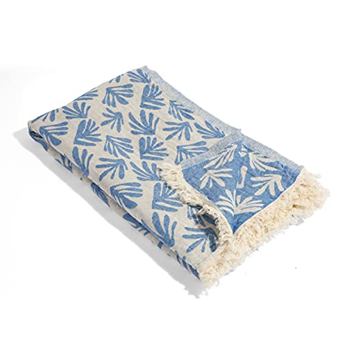 InfuseZen Thin and Lightweight Palm Print Turkish Towel - 100% Cotton - Quick Dry Turkish Bath Towel – Stylish Turkish Beach Towel – Great for Pool, Gym, Travel – Absorbent Hammam Turkish Towel (Blue)