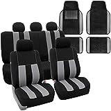 FH Group FB036115 + F14501 Striking Striped Seat Covers (Gray) Full Set w. Carpet Floor Mats – Universal Fit for Cars Trucks & SUVs
