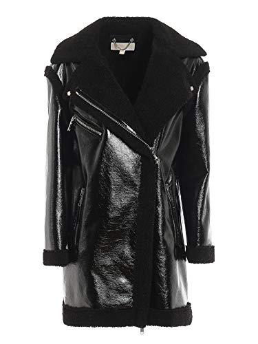 Michael Kors MF92J1A9RL - Chaqueta de poliuretano brillante, piel sintética, color negro Negro M