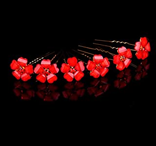 Olici Bridal Wedding/Prom Hair Pins/Headdress Accessories/Party/Girls Diamond Crystal Flowers Red Fork Ornaments Ornaments
