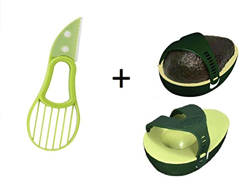 3 in 1 Avocado Slicer Pitter Cutter and Avocado Saver (1, Green)