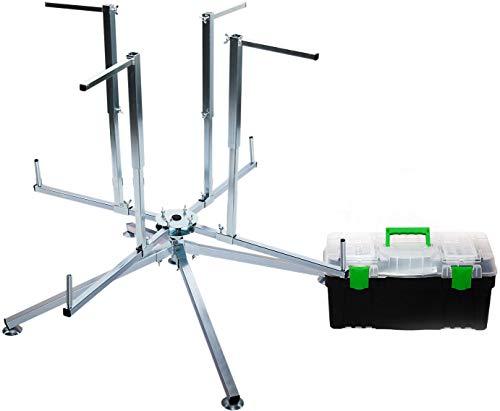 Abroller Rohrhaspel Fußbodenheizungsrohr Aufwickler für Kabel Aufroller für Rohr PEX PERT AL/PEX mit Werkzeugkasten
