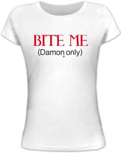 Shirtstreet24, BITE ME (Damon Only), Vampir Vampire Lady/Girlie Funshirt Fun T-Shirt, Größe: M,weiß