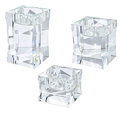 Le Sens Amazing Home Candle Holders Set of 3 Pieces Elegant Heavy Crystal Diamond Side Cut Tealight Holders, Clear Square Glass Cube Candle Holder for Centerpiece and Home Decoration