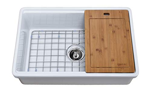 """Empire Industries TO30 Tosca Reversible Farmhouse Fireclay Kitchen Sink with Cutting-Board, Grid and Strainer, 30"""", White"""