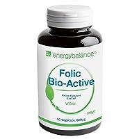 Folsäure (90 Kapseln) - Vitamin B9 - Jeweils 600µg 5-MTHF-Folsäure - Zur Erhöhung der Folataufnahme - Mit Folsäure namens Quatrefolic - Hohe Bioverfügbarkeit & vegan