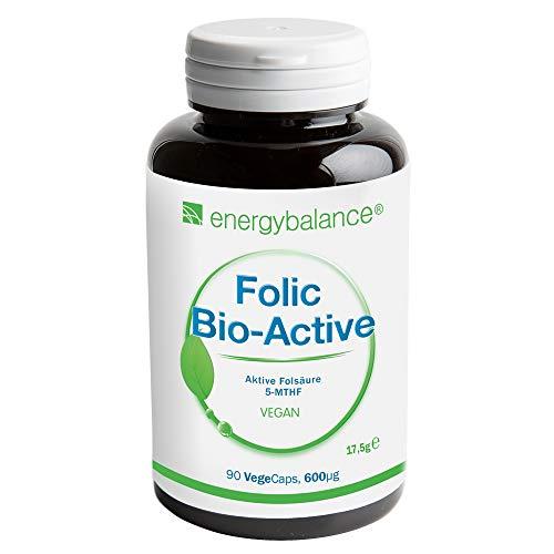 EnergyBalance Folic - Kapseln mit Folsäure - Schwangerschaft, Kinderwunsch - Vitamin B9, 5-MTHF Quatrefolic - Hohe Bioverfügbarkeit - Vegan - Qualität aus der Schweiz - 90 VegeCaps à 600 µg
