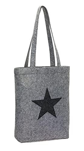 Bolsa de la compra de tela de fieltro, shopper, modelo gris con estrella.