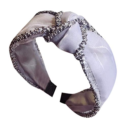 WUDUBE - Diadema de Malla con Cuentas de Color sólido y Anudado para Mujer Gris Gris