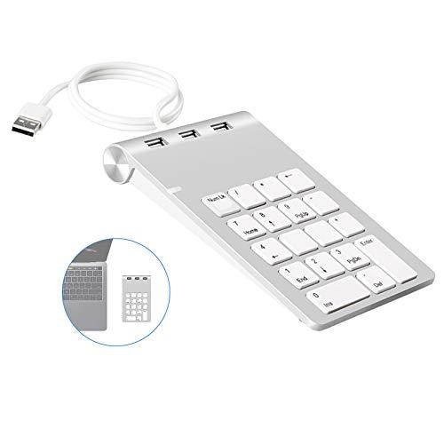 Le Pavé Numérique USB Portable, Clavier Numérique Externe avec 3 Ports USB 2.0 pour iMac, MacBook Air, MacBook Pro, MacBook, Mac Mini, PC et Ordinateurs Portable
