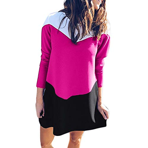 Sunday Damen Winterkleid Langarm Partykleid Ballkleid MiniKleid Rundhals T Shirt Kleid Tunika Kleid Longshirt Kleid Pulli Kleid (L, Hot Pink)