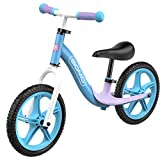 GOMO Balance Bike - Toddler Training Bike for 18 Months, 2, 3, 4 and 5 Year Old Kids - Ultra Cool Colors Push Bikes for Toddlers/No Pedal Scooter Bicycle with Footrest (Light Blue)