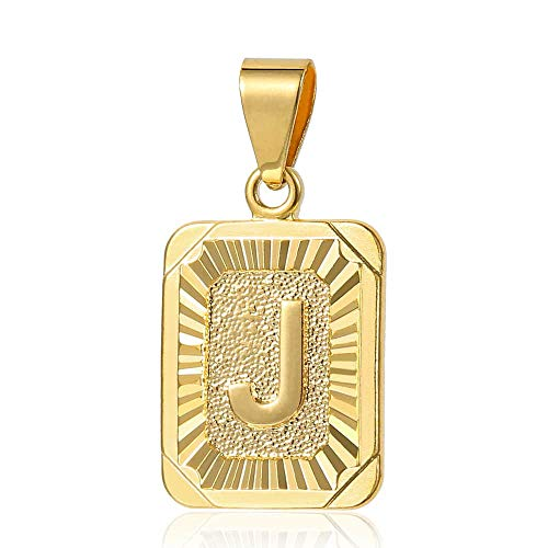 Trendsmax Mens Womens Yellow Gold Plated Square Capital Letter J Pendant Only No Chain