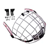 Baoblaze Escudo de Máscara de Jaula con Casco de Hockey sobre Hielo de Acero Plano A3 con Accesorios - Plata