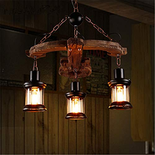Industrial Retro Lámpara de Araña Vintage Creativo Ballesta Modelado Iluminación de techo de madera sólida con 3 cabezas Hierro forjado Jaula de vidrio Sombra E27 Diámetro del accesorio 21,6 p