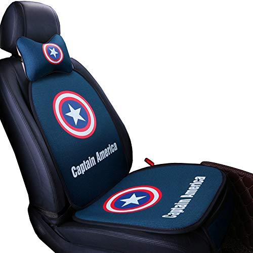 RF Seat Covers Cartoon Captain America Superman Batman New Interior Accessories Four Seasons Car Cushion (Captain America) 1 Set (Captain America Single Seat 3-Piece Suit)