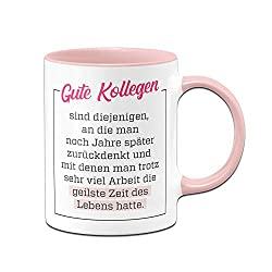 Tassenbrennerei Tasse Gute Kollegen - Geschenk für Arbeitskollegen Kollegin - Bürotasse mit Spruch (Rosa)